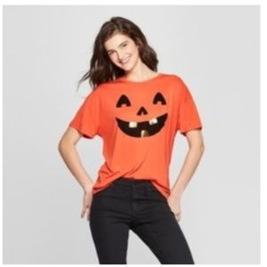 Modern Lux Size L Orange Pumpkin Face Shirt